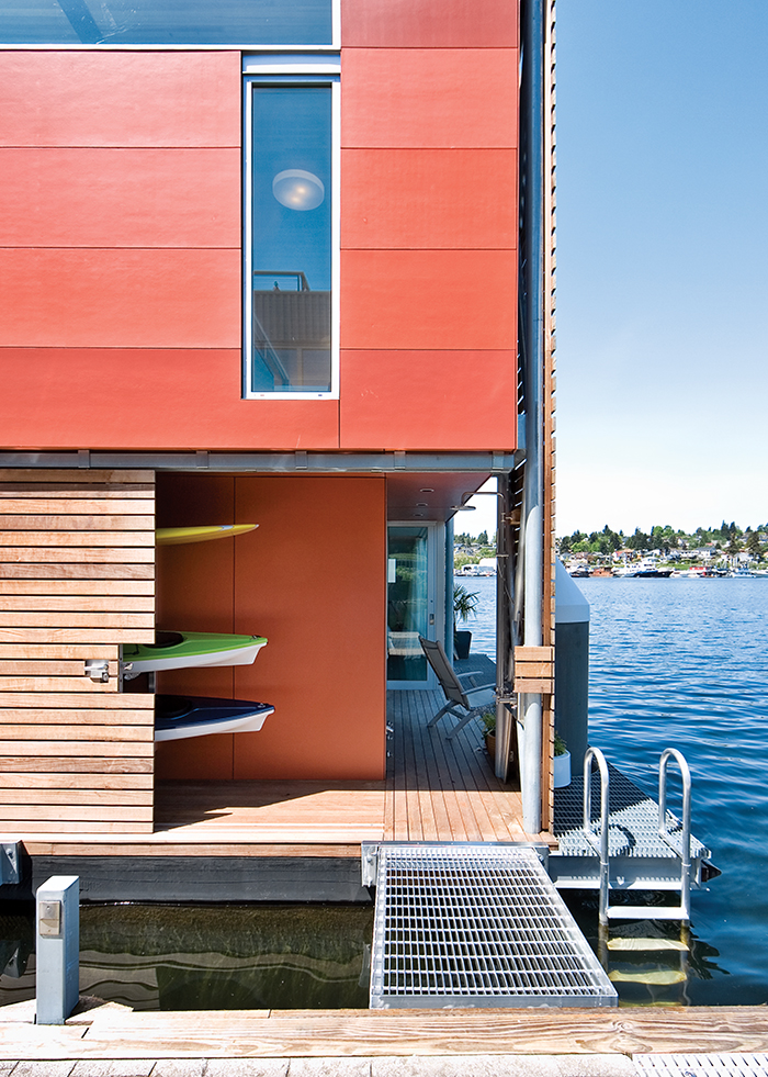 Prefab floating home in Seattle with fiber cement panels on the facade