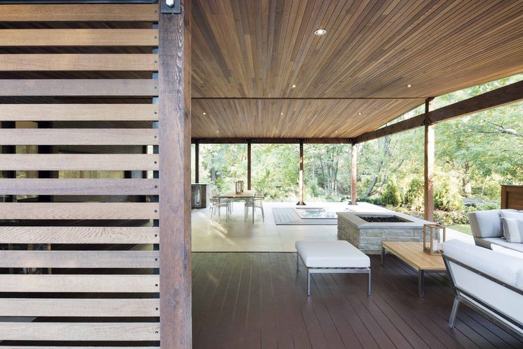 Cedar deck at a midcentury renovation