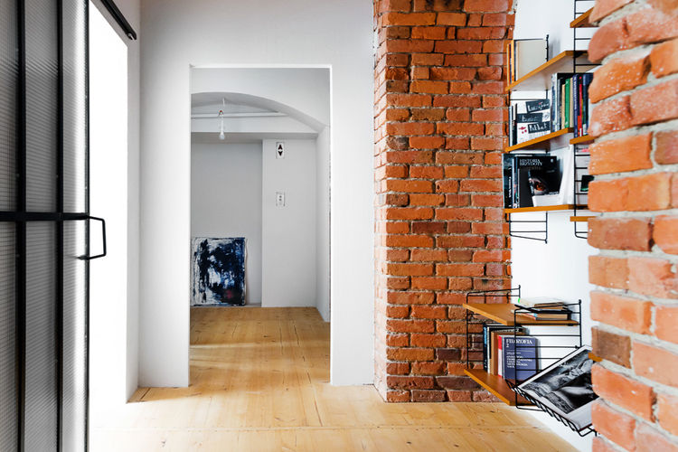Hallway in a renovated Polish loft
