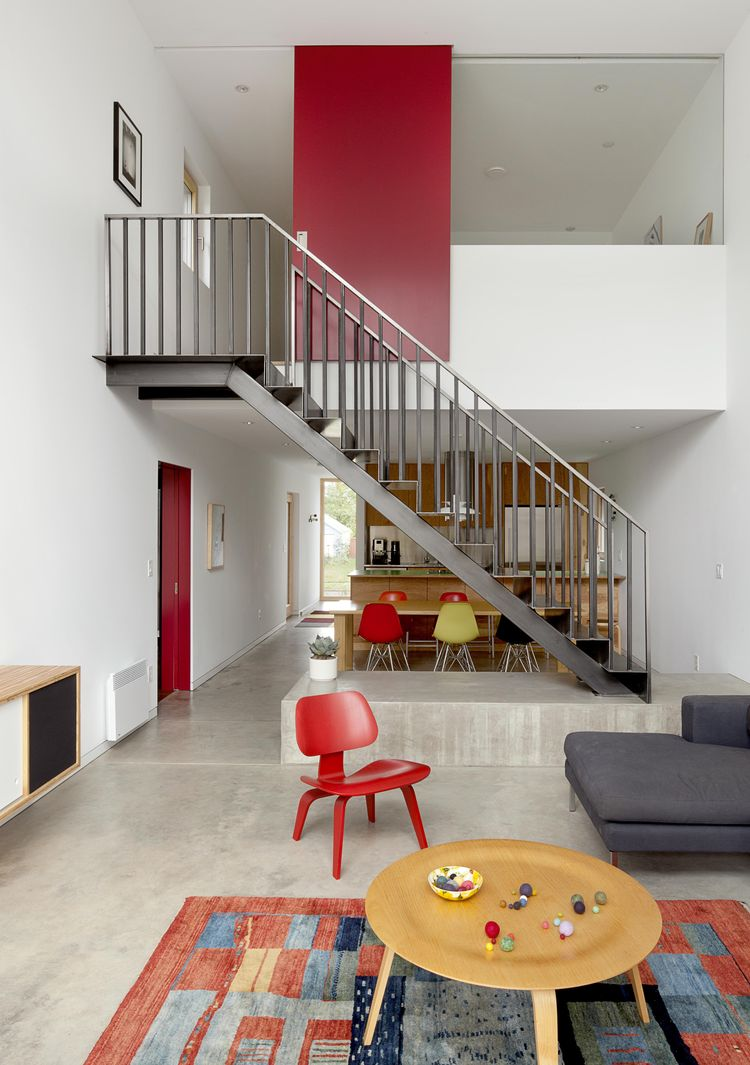 Skidmore Passivhaus double-height living room