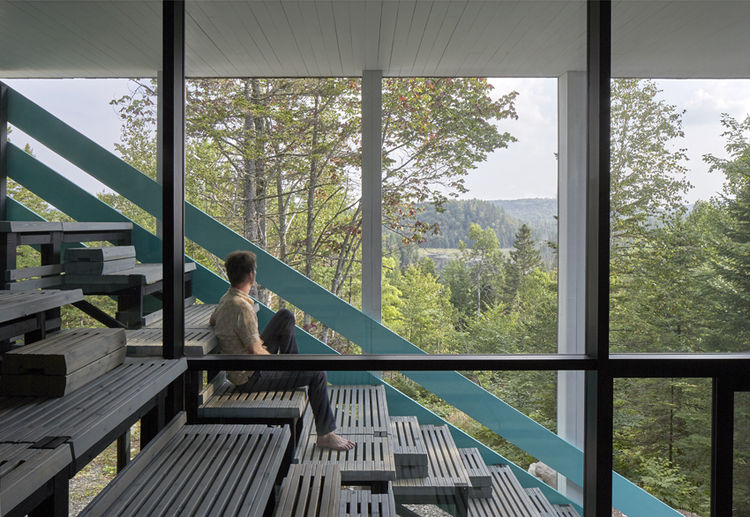 Bleachers built into a Canadian home