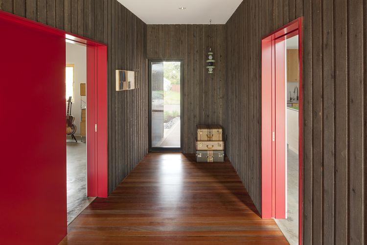 Skidmore Passivhaus mahogany flooring
