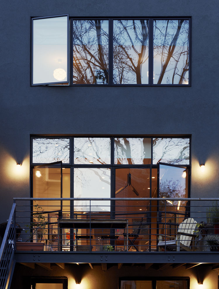 Modern stucco facade in Brooklyn