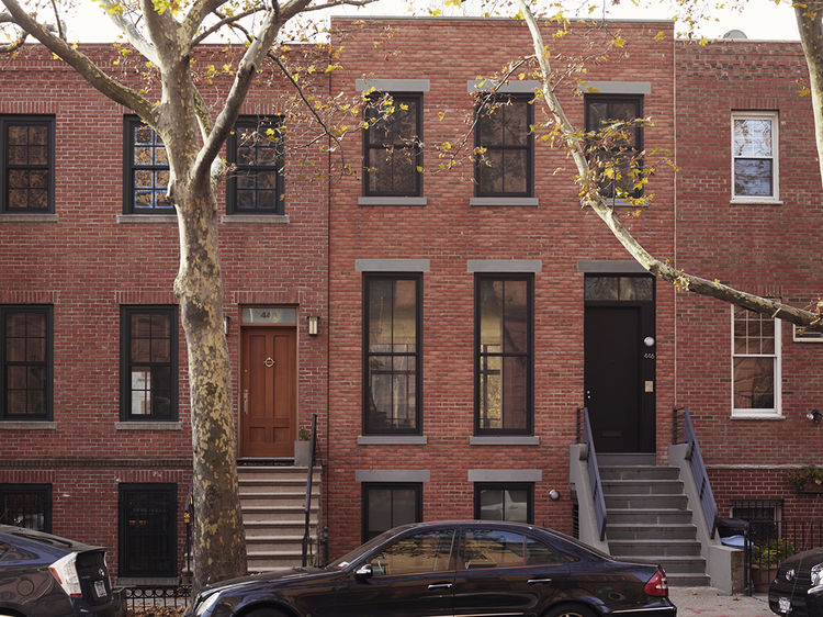 Restored brick town house in Brooklyn