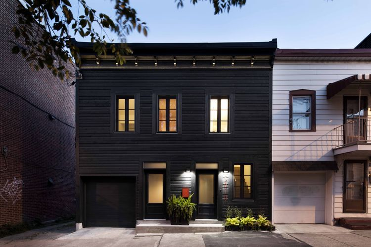 Historic Montreal home painted black