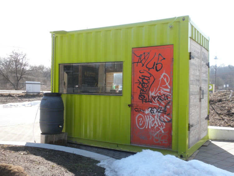 The Welcome Hut reuses a shipping container to provide visitors with information about Brick Works. When Evergreen took over the site in the early 2000s, it was impossible to look around and not see graffiti, but instead of repainting remnants of the orig