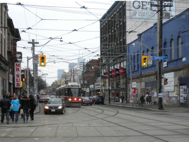 Next up was a trip down Queen Street West between Bathurst and Ossington streets. In this picture, a regular Toronto sight: the TTC streetcars.