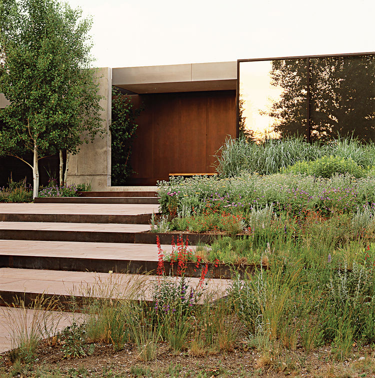 Lutsko Associates chose to integrate stepped terraces into the landscape design of this Ketchum, Idaho home.