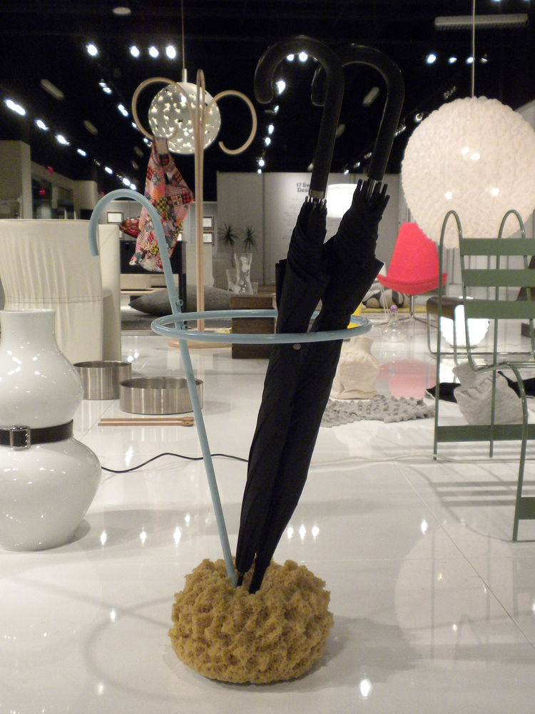 "Also on display from Schildt was her <a href=""http://www.designhousestockholmusa.com/tabid/210/productid/218/default.aspx"">Umbrella Stand for Design House Stockholm</a> featuring a sponge base to soak up the drops."