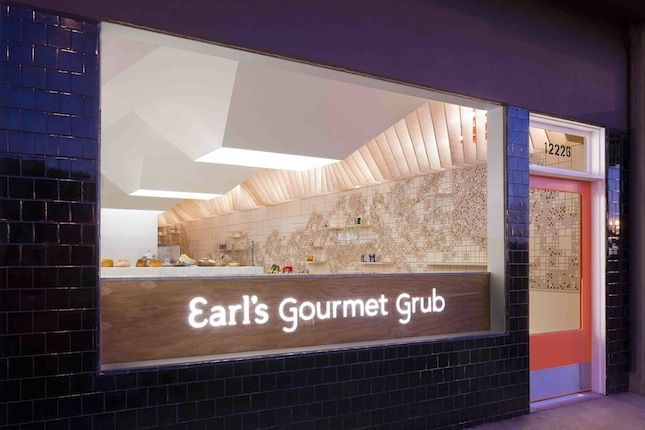 """<b><a href=""""http://earlsgourmetgrub.com/"""" target=""""_blank"""">EARL'S GOURMET GRUB</a></b> Cafe/bar designed by <a href=""""http://www.freelandbuck.com/"""" target=""""_blank"""">FreelandBuck</a> <br /><br />  This sandwich shop in West Los Angeles uses architectural comp"""