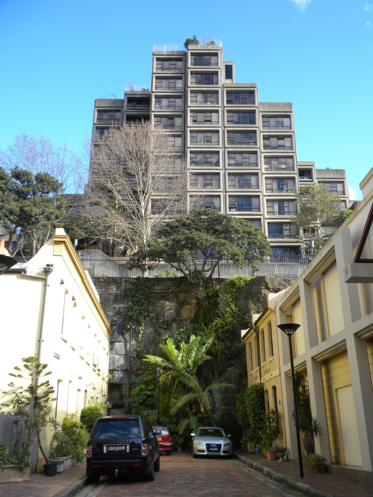 I instantly fell in love with the Sirius Apartment buildings in the Rocks and had the good fortune of walking by them several times while we were in Sydney. It turns out that these Brutalist apartments were designed by Tao Gofer in 1978 as experimental lo