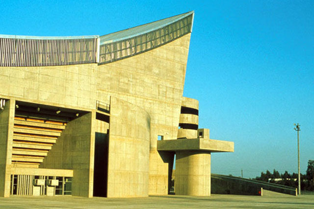 "Saddam Hussein Gymnasium in the Le Corbusier-designed Sports Complex in Baghdad, <a href=""http://archnet.org/library/images/thumbnails.jsp?location_id=1856"">view to main entrance</a>."