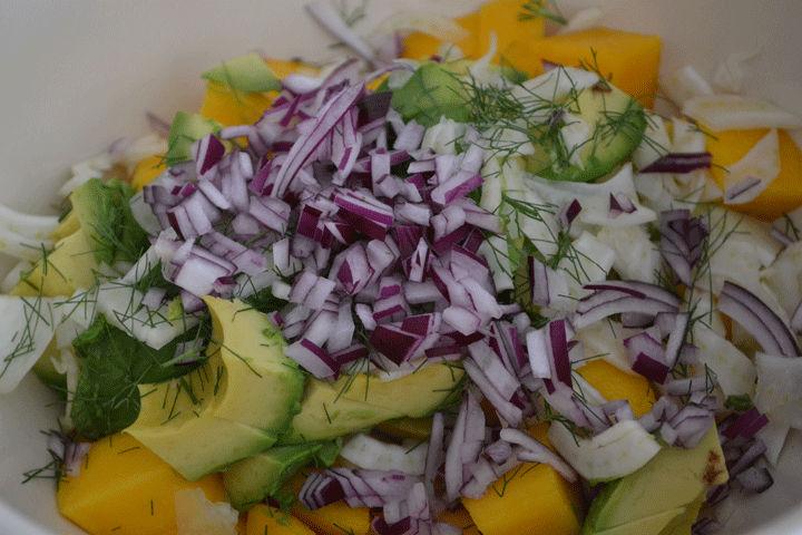 "Chopped vegetables for Avocado, Mango, and Fennel Salad. Photo courtesy <a href=""http://microsites.boschappliances.com/amyskitchentable/"">amyskitchentable.com</a>."