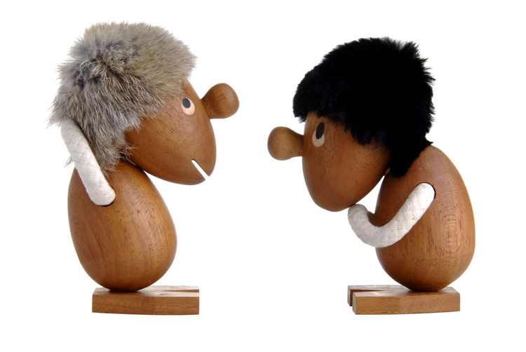 The Optiminist and Pessimist are playful characters designed by architect Hans Bølling. Bølling was born in 1931 in Denmark and later graduated as an architect from the Royal Danish Art Academy. These 4.5-inch-tall, teak toys are meant to remind us about