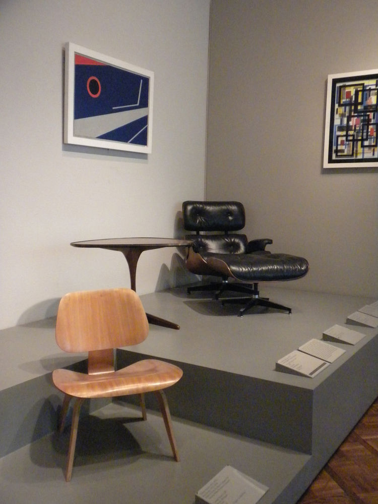 Also on display by the Eameses: The Eames Molded Plywood chair and Eames Lounge Chair and Ottoman.