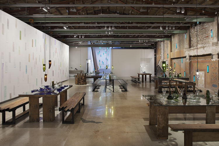 "Here's the gallery as it looked during its opening exhibition, ""More Art About Buildings and Food,"" in which artist Jason Middlebrook transformed detritus from Arthouse's building renovation into sculpture, dining furniture, and other functional objects."
