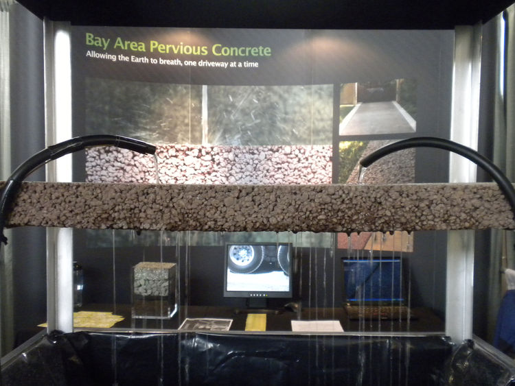 "<a href=""http://www.bayareaperviousconcrete.com/"">Bay Area Pervious Concrete</a> displayed its permeable surface solution a live demonstration. Pervious ground coverings not only decrease puddles and water accumulation, but they also filter contaminants l"