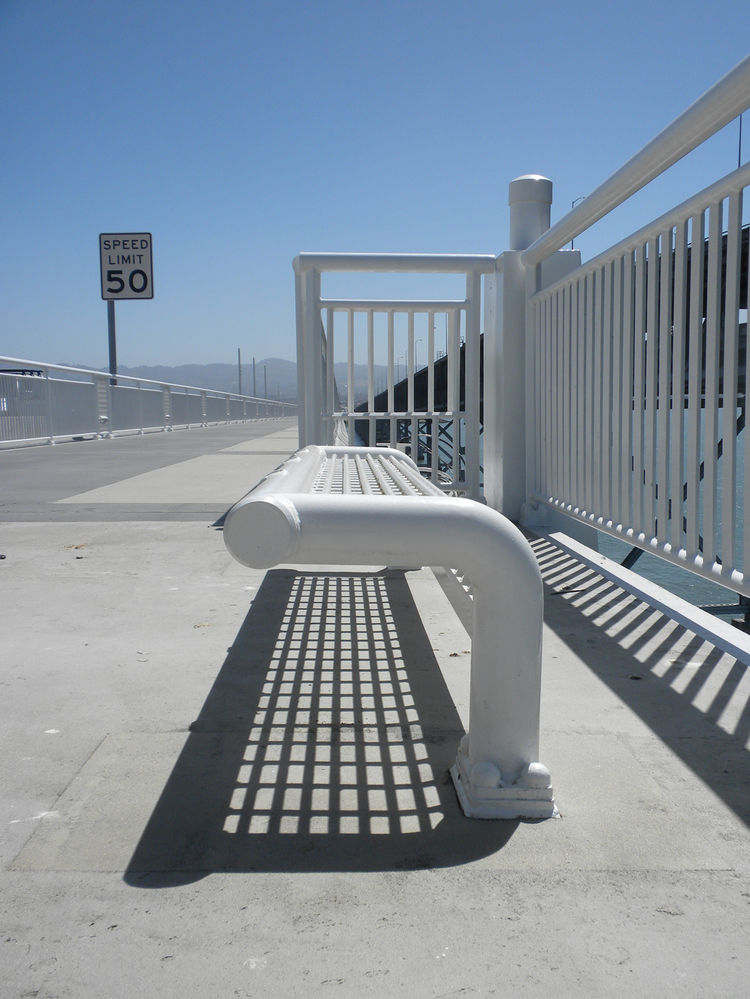The pedestrian and bike path features several outposts for viewing the bay (and for now, viewing the old Bay Bridge, originally completed in 1936). Though Caltrans and other authorities involved in the bridge building expect high volumes of foot and bicyc