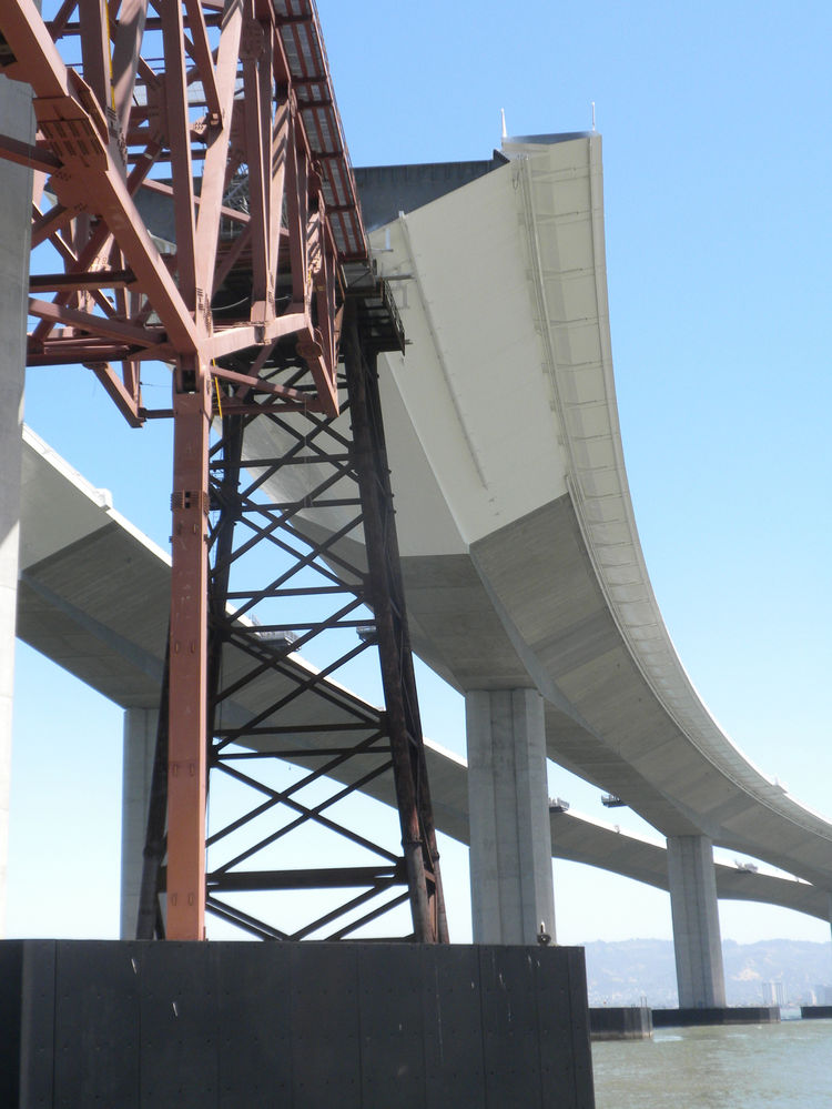 From below, the pedestrian and bike path sticks out the southern side of the eastbound skyway and SAS bridge.