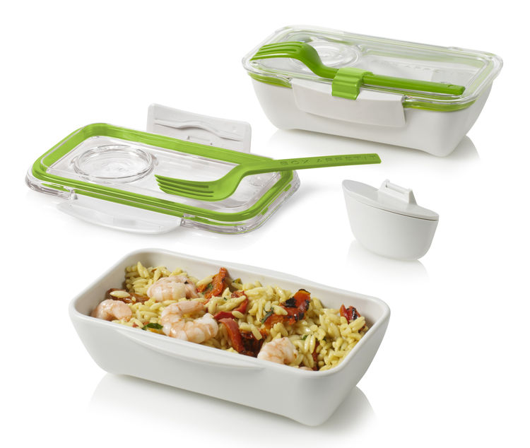 "Never lose a fork or spill a meal with Black+Blum's snap-shut <a href=""http://www.dwell.com/products/bento-box-black-blum.html"">Bento Box</a>."