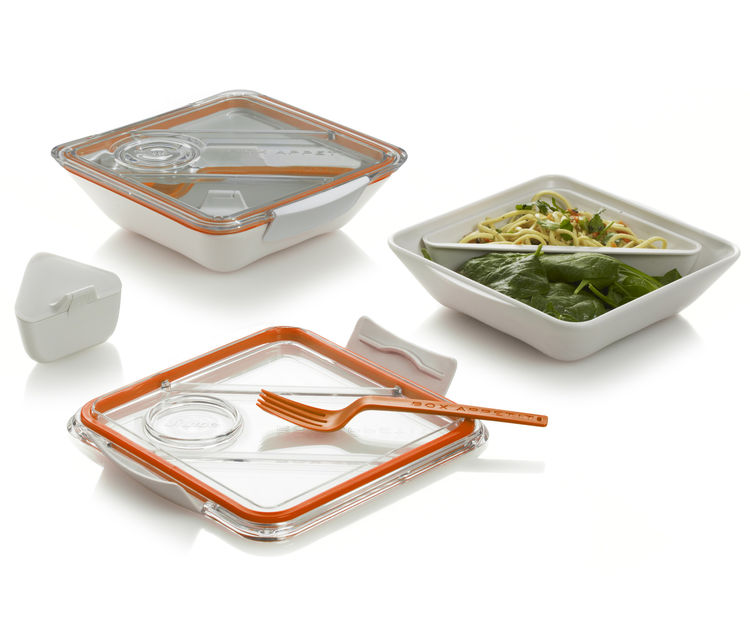 "The <a href=""http://www.black-blum.com/products/box-appetit/"">Box Appetit</a> is a larger version of the Bento Box with two compartments."