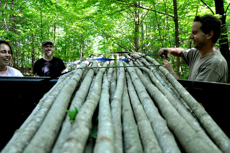 "The design called for walls made of sugar maple poles, which the students and the architects harvested on site. ""The structure could in a sense be made anywhere but this makes it a little representative of the place because it's materials are sourced 400"