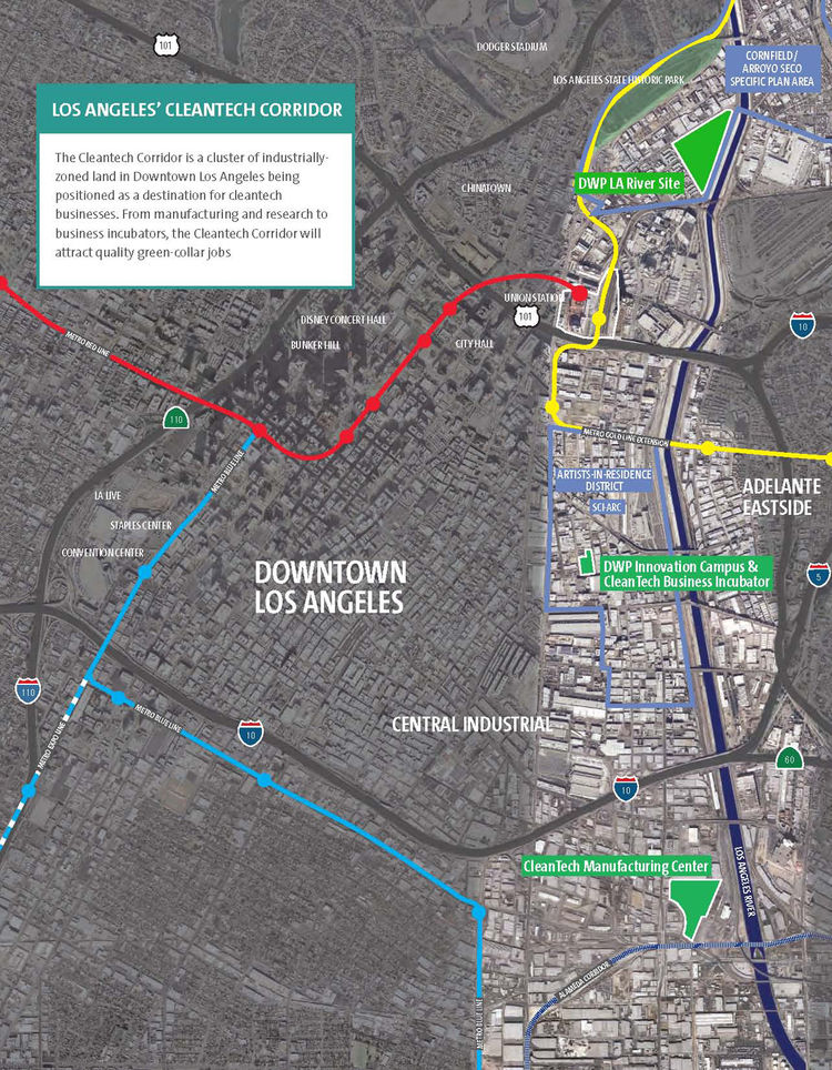 The Cleantech Corridor cuts a wide swath through L.A.'s downtown for four miles along the Los Angeles River.