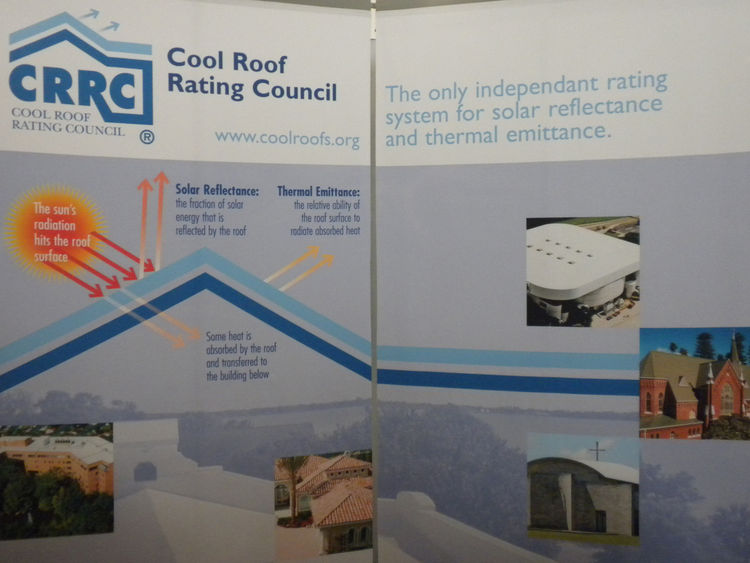 "Representatives from the <a href=""http://www.coolroofs.org/"">Cool Roof Rating Council</a> were on hand sharing information about the nonprift, which rates reflectivity of roofs and publishes and makes available for free the information online. <a href=""ht"
