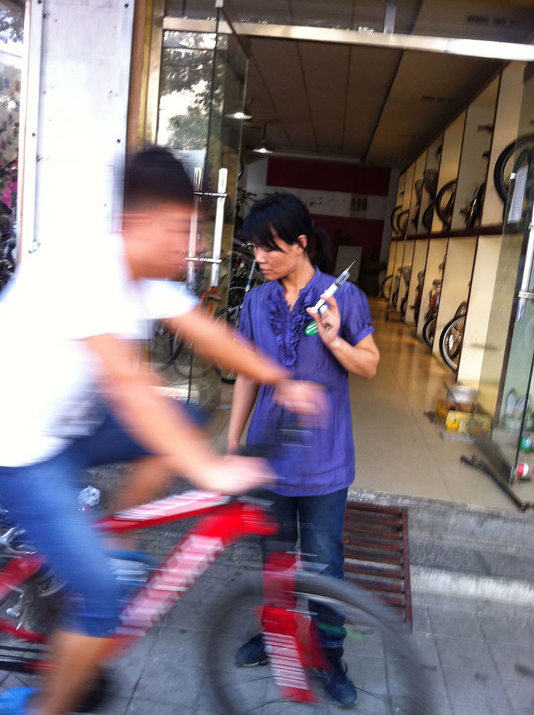 "Arriving in Dezhou, Shahid found a local bike shop and an owner standing at the ready with a syringe of bike lube. ""I stopped in front of the store to check my map,"" she says. ""Within second, without asking any questions or saying a word, the owner was al"