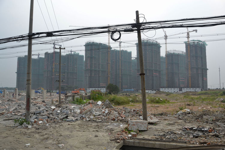 """The rubble, scaffolding, and cranes increased in frequency and scale as I got closer to Shanghai,"" Shahid reports."