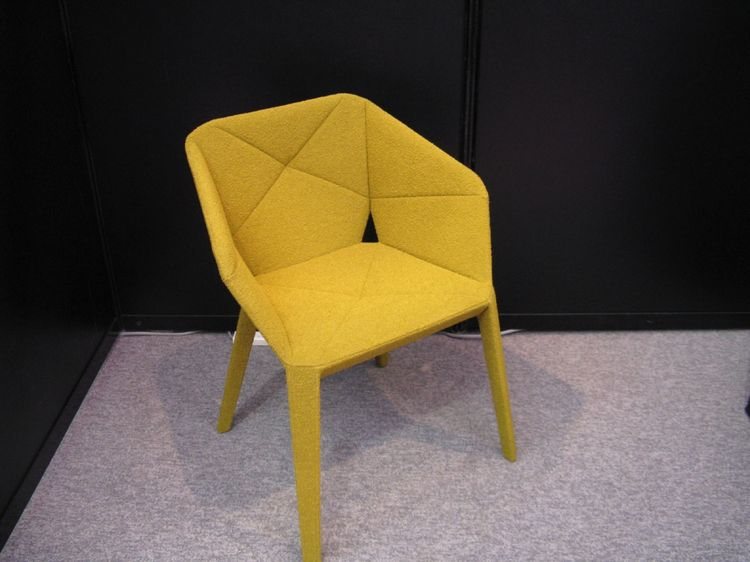 "This retro chair prototype by Yokohama's <a href=""http://www17.ocn.ne.jp/~juice/"">Issei Shibuya</a>, covered head-to-toe in mustard boucle, was so cozy my tour of the expo almost ended right here."