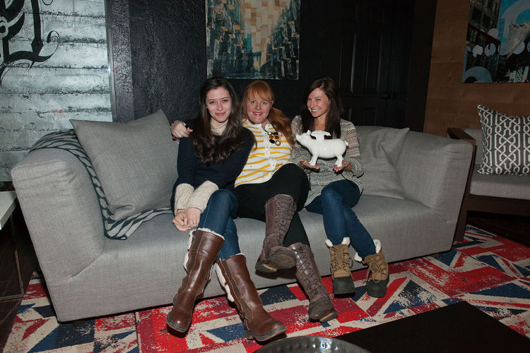 """Over the course of the weekend the lounge hosted a panoply of events. Here's a snap of the official premiere dinner of the film """"For a Good Time Call"""" with director Lauren Miller, screenwriter Katie Anne Naylon, and actress Sugar Lyn Beard posing on a Soh"""