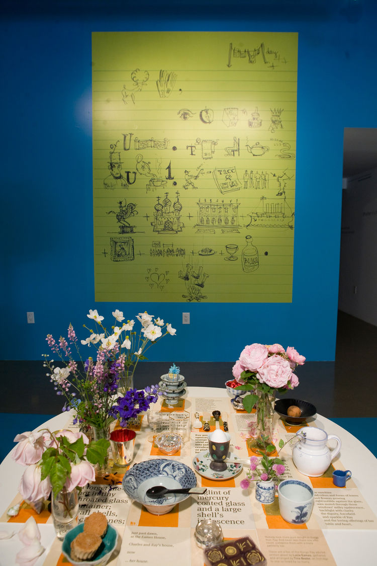 "Charles created this rebus for his daughter, Lucia, when she was a child. ""Some people want a key for it; some don't,"" says Sussman. Ray's table was curated by artist Tina Beebe, who worked closely with Ray in the Eames Office and decorated the surface wi"