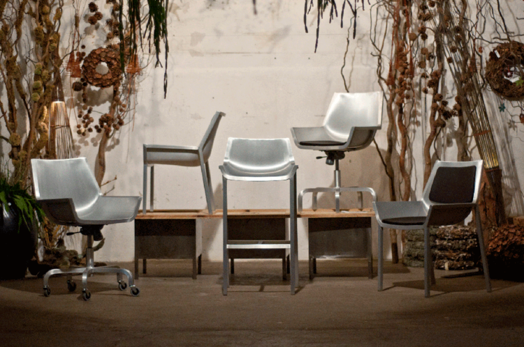 First look at Emeco's new Sezz collection designed by Christophe Pillet. Though some of Emeco's past designer collaborations have been more akin to art pieces, this collection (aluminum chair, stool, swivel desk chair, and armchair with vinyl padding) is