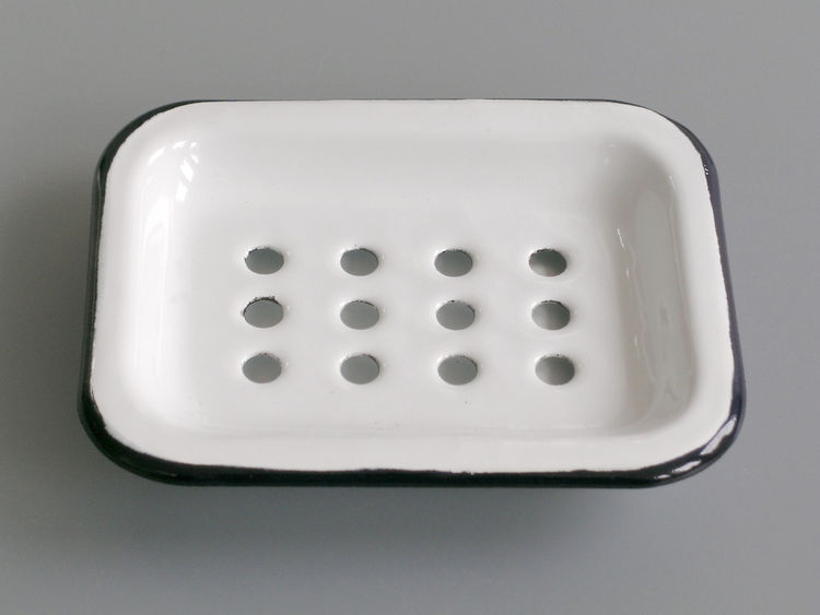 "<b>Enamel Soap Dish</b> ""We love the simplicity of this item. A real classic and very practical with the separate drip tray."" Photo courtesy of Labour and Wait."