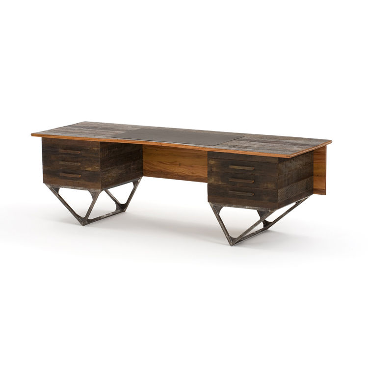 """The Horizonte desk in waxed peroba rosa and cabriúva wood, iron and leather, from 2009. Photo courtesy <a href=""""http://espasso.com/home.asp"""">Espasso</a>."""