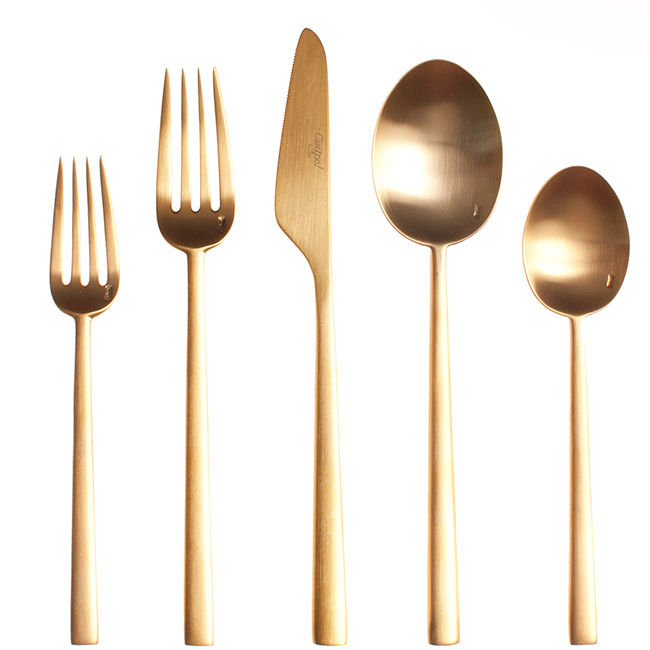 """<h3>Rondo Gold Cutlery, Cutipol, $85</h3> Ryan Walker: """"I love products with a heritage that still strive for modernity.Cutipol cutlery comes from the gathering of expertise and know-how over several generations going back to the very origins of the cutl"""