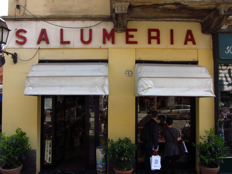 It was almost lunch hour, and along the Corso Garibaldi, Dwell's Amanda Dameron and Keven Weeks couldn't help but be seduced by a typical Salumeria.