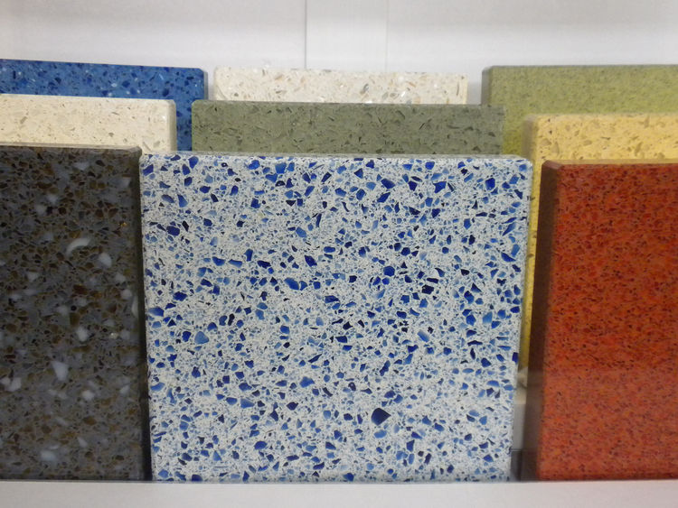 "Also displaying recycled-glass surfaces was <a href=""http://www.icestone.biz/"">IceStone</a>. The blue color in its line comes from recycled Skyy Vodka bottles."