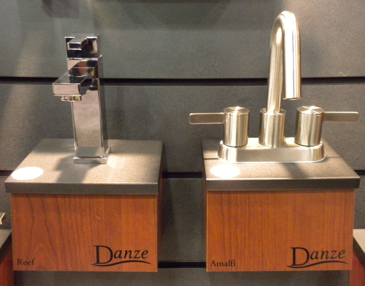 "<a href=""http://www.danze.com/"">Danze</a> had several modern faucets that were new at the shower. Shown here are the Reef (left) and Amalfi (right) designs."