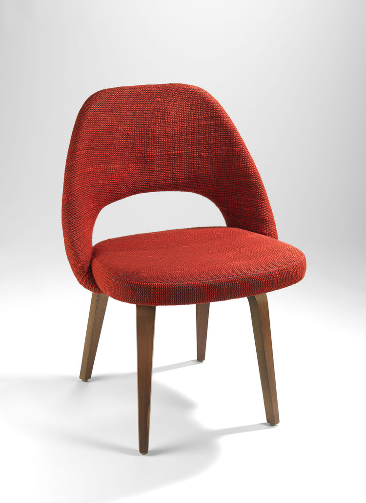 "German weaver Paul Maute's Cato textile (""probably the most famous textile in the Knoll line,"" Makovsky says) upholsters Eero Saarinen's model 72U side chair (circa 1965). ""When I spoke early on with Florence about this exhibition, she explained her philo"