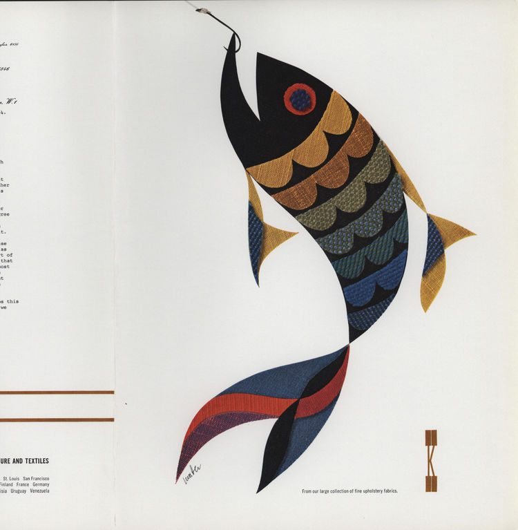 "Swiss-born Herbert Matter had his hands in everything. He began working with Knoll in the 1940s doing photography, graphic design, corporate identity, advertisements, and catalogs, and even designed the Knoll logo. ""His 1965 Good Catch advertisement [show"