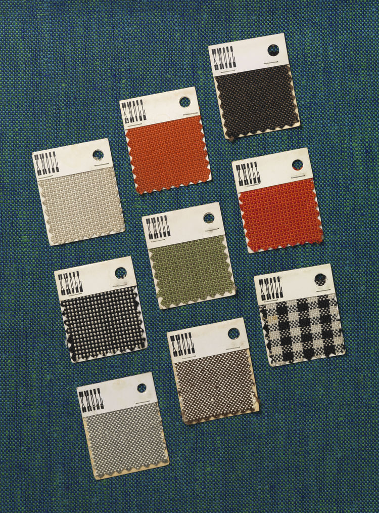 Florence Knoll was also instrumental in developing the standard three-inch-by-three-inch fabric swatch that have now become the industry standard. These swatches show samples of Scotch Linen by Franz Lorenz.