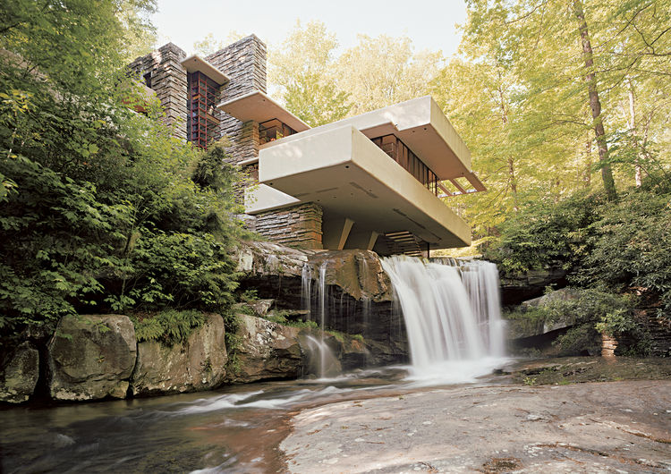 The Babe Ruth of American residential design, Fallingwater by Frank Lloyd Wright continues to dazzle with its shifting planes hovering over the creek. Photo by Victoria Sambunaris