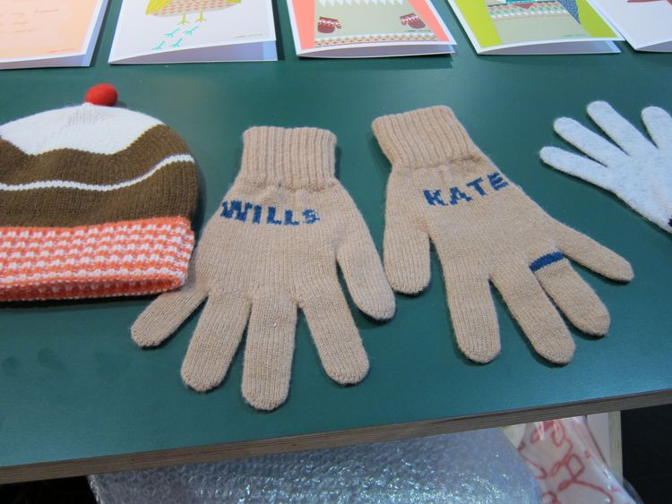 "Riding the royal wedding frenzy, Wilson created these lambswool gloves, which she describes as a ""not so tacky souvenir of the royal engagement."""