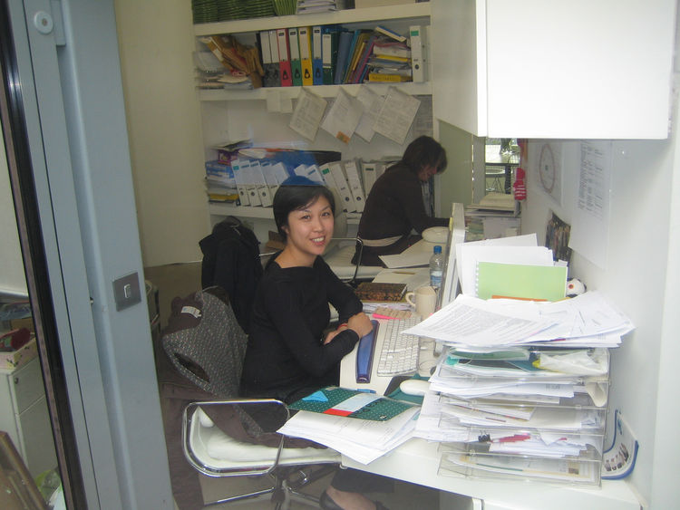 """I snapped this photo from the walkway up to the building. Tu Mong Edwards works in the office which she likened to """"a cupboard."""" Cramped though it is, she notes that """"For a charity that focuses on cancer, it's amazing how much laughter echoes off the wall"""