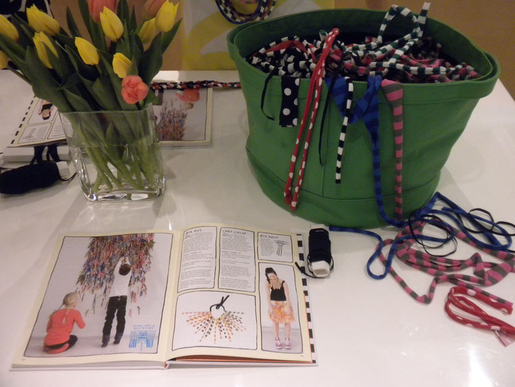 At the opening, a craft table was set up for making necklaces with fabric scraps. Marimekko asked a number of its designers to create DIY projects that use leftover materials. The book, titled <i>Surrur</i>, will be available in coming weeks.
