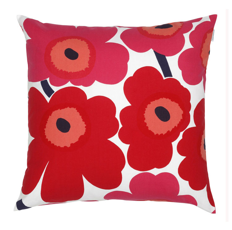 In 1964, Maija Isola designed Marimekko's most popular and most recognizable pattern in its collection. Unikko, which means poppy, follows Ratia's unconventional vision of presenting bold, bright patterns to the public. This pillow, sold at Marimekko Shop