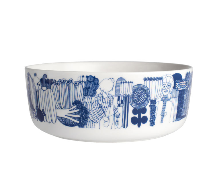 "Here, Louekari's Siirtolapuutarha pattern appears on an <a href=""http://www.crateandbarrel.com/the-marimekko-shop/marimekko-kitchenwares/marimekko-siirtolapuutarha-blue-and-white-8%22-bowl/s196706"">eight-inch vitreous porcelain bowl</a>."