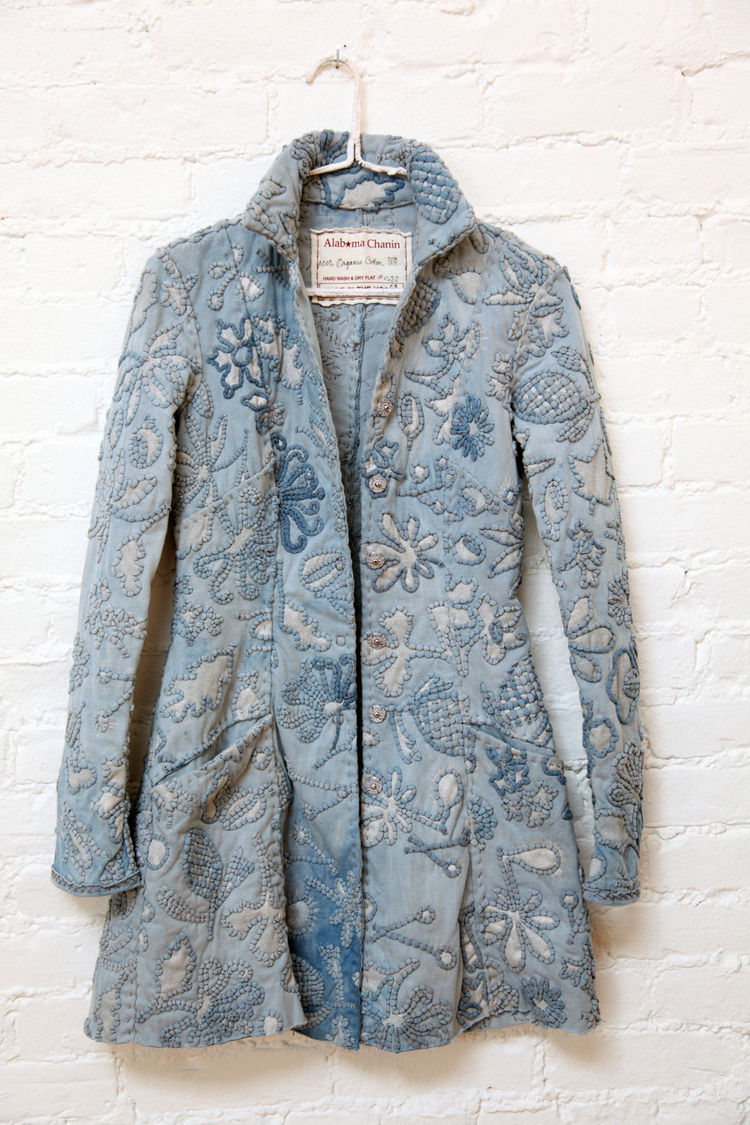 Alabama Chanin 2009 and 2010 Collections, indigo dyed and embroidered couched coat. Natalie Chanin (American, b.1961), Alabama Chanin. United States, 2009. 100 percent organic cotton, natural indigo plant dye, paint, thread, snaps. Photo: Alabama Chanin